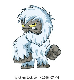 Angry And Frustrated Yeti/Bigfoot. Vector Illustration Isolated On White Background