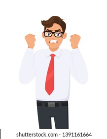 Angry, frustrated young businessman  raised his hand fists shout/screaming. Evil, negative, bad facial expression. Human emotion and body language concept illustration in vector cartoon style.