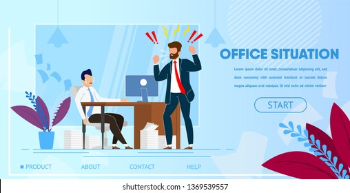 Angry Furious Boss Character Yelling at Employee Office Worker Sitting at Desk with Computer and Documents. Businessman in Stress Deadline Situation Cartoon Flat Vector Illustration. Horizontal Banner