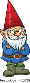 Angry garden gnome. Vector illustration with simple gradients. All in a single layer.