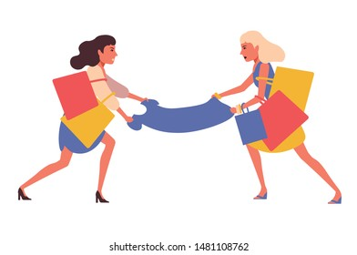 Angry girls fighting for new dress in shop, mall, store or showroom. Women shopaholics shopping seasonal sale. Female customers buying clothes in discount season. Colorful vector in flat cartoon style