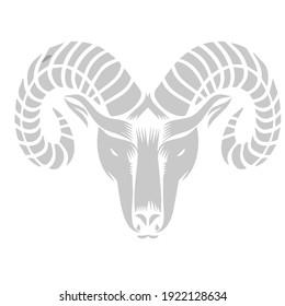 angry goat animal logo design in black