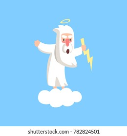 Angry god character standing on fluffy white cloud with halo over his head and lightning in the hand. Flat vector isolated on blue background.