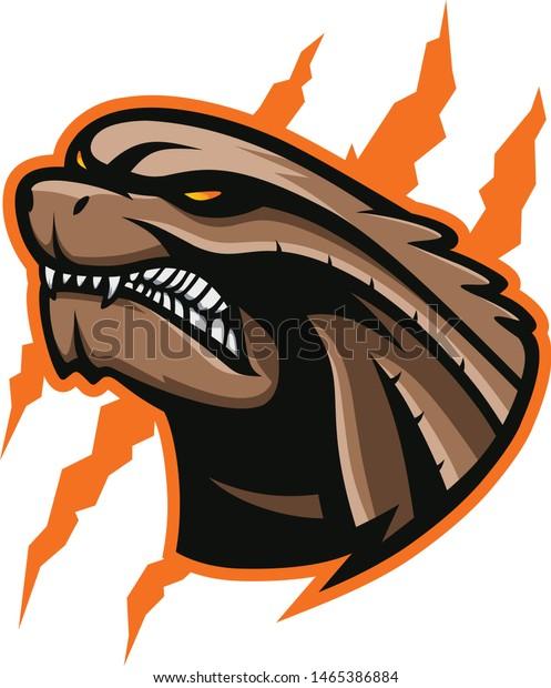 Angry Godzilla Logo Vector Illustration Stock Vector Royalty Free 1465386884