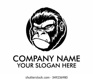 angry gorilla ape head character illustration logo icon vector