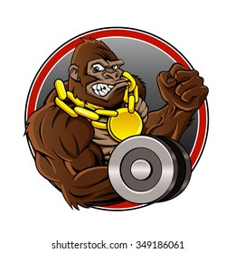 Angry gorilla with dumbbell and gold chain