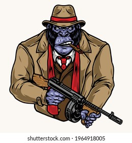 Angry gorilla gangster in fedora hat suit coat red scarf smoking cigar and holding thompson submachine gun in vintage style isolated vector illustration