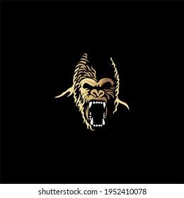 angry gorilla head character logo vector illustration