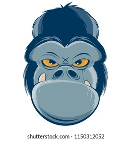 angry gorilla head clipart