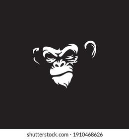 angry gorilla head logo template vector.  Monkey face logo template vector. Ape logo template