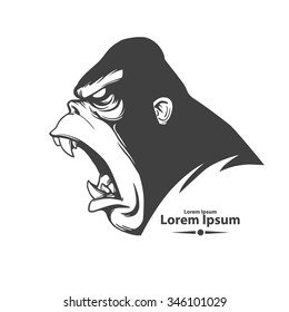 angry gorilla head, profile view, logo, mascot, emblem for sport team, simple illustration, monster screaming