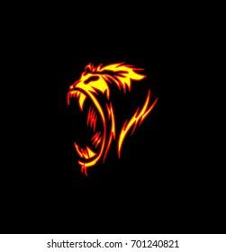 Angry gorilla icon, wild animal, mammal, dangerous, fire, fierce, scream, black background, vector illustration