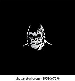 Angry gorilla logo in monochrome style. Vector vintage illustration