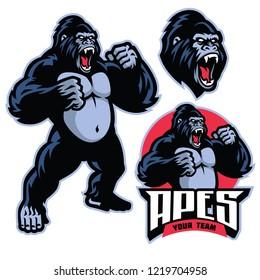 angry gorilla mascot standing