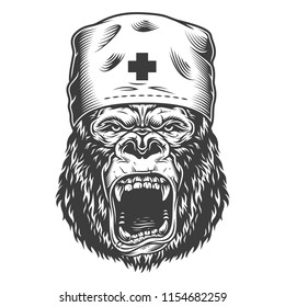 Angry gorilla in monochrome style in medical hat. Vector illustration