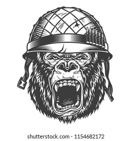 Angry gorilla in monochrome style in soldier helmet. Vector vintage illustration
