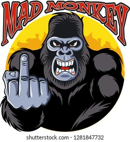 angry gorilla showing middle finger