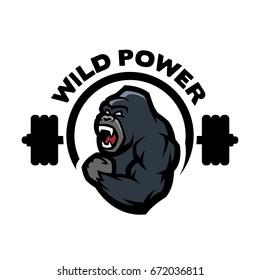 Angry gorilla. Sports gym logo.