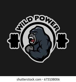 Angry gorilla. Sports gym logo on a dark background.