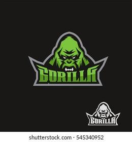 Angry gorilla. Sports mascot. Vector illustration.