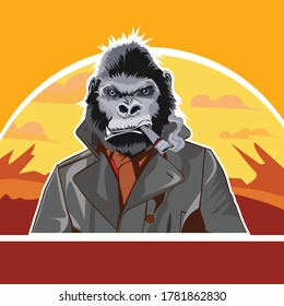 Angry Gorilla vector while shopping in a handsome suit