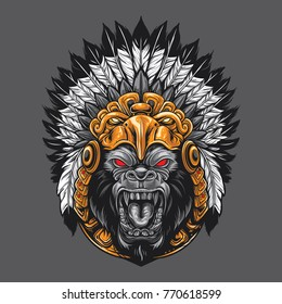 Angry gorilla wearing aztec ornament headdress.