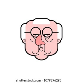 Angry Grandfather are evil. Grumpy old man Cartoon style