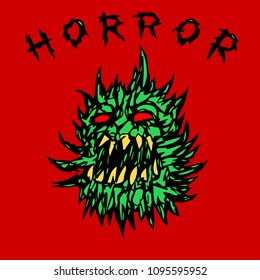 angry green prickly ghost. horror genre. vector illustration