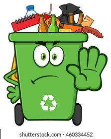 Angry Green Recycle Bin Cartoon Mascot Character Full With Garbage Gesturing Stop. Vector Illustration Isolated On White Background
