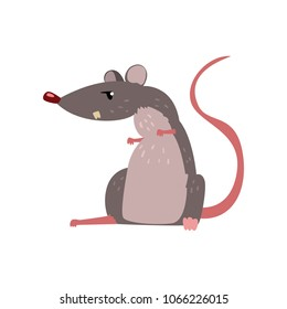 Angry grey mouse, cute rodent character vector Illustration on a white background