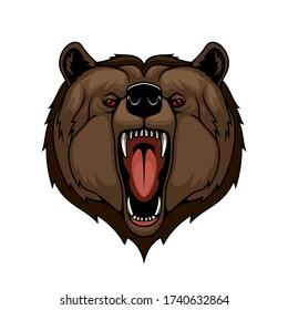 Angry grizzly bear animal head, isolated mascot. Attack, wild predatory animal with open mouth and sharp teeth. Sports team or hunting club emblem. Cartoon grizzly bear roaring and attacking sign