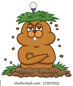 Angry Groundhog with Grass and Golf Ball on His Head Cartoon Illustration