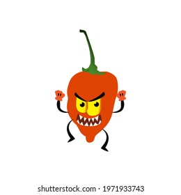 Angry habanero pepper cartoon character vector on a white background