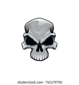 Angry half skull vector color drawing head