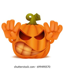 Angry Halloween Pumpkin Jack Lantern emoticon cartoon character. Vector illustration