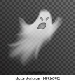 Angry halloween white scary ghost isolated template transparent night vector background illustration