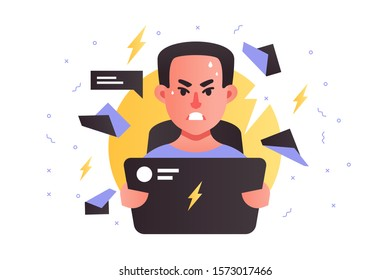 Angry handsome man using laptop stressing at work. Isolated concept businessman character with problem and deadline in business. Vector illustration.