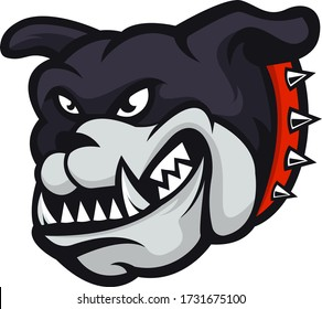 angry head mascot of bulldog, concept style for badge, emblem and t shirt printing