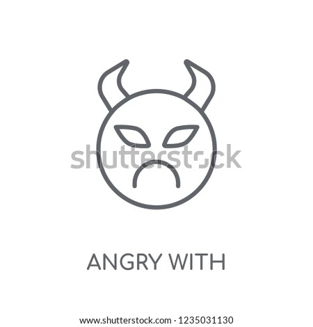 Angry Horns Emoji Linear Icon Modern Stock Vector (Royalty