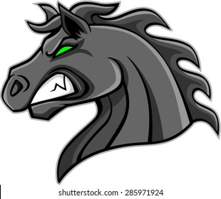 angry horse head mascot, vector illustration