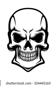 Angry human skull with eerie grin isolated on white background. For t-shirt or tattoo design, cartoon style