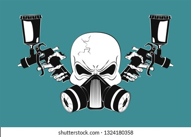 Angry human skull in respirator and two spray guns. Design element for logo, label, emblem, t-shirt or tattoo design. Vector illustration in cartoon style on background.