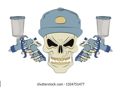 Angry human skull and two spray guns. Design element for logo, label, emblem, t-shirt or tattoo design. Vector illustration in cartoon style on background.