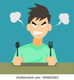Angry hungry man with spoon and fork-vector cartoon