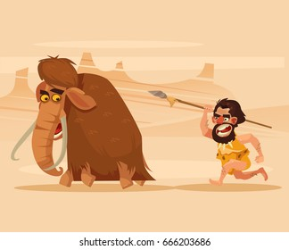 Angry hungry primitive caveman character chasing running hunting mammoth. Vector flat cartoon illustration