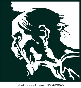 angry, hungry zombie head silhouette vector, undead