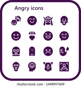 angry icon set. 16 filled angry icons.  Simple modern icons about  - Happiness, Happy, Samurai, Scream, Emotions, Balaclava, Ghost, Unhappy, Rhino, Face