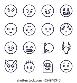 Angry icons set. set of 16 angry outline icons such as bull, sad emot