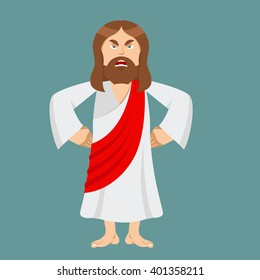 Angry Jesus is not satisfied. Angered by Christ. Gods son in rage. Biblical character