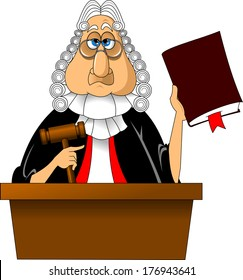 Angry judge with gavel makes verdict for law, vector